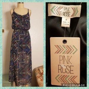 Blue Geometric Print Boho Maxi Dress Size Small